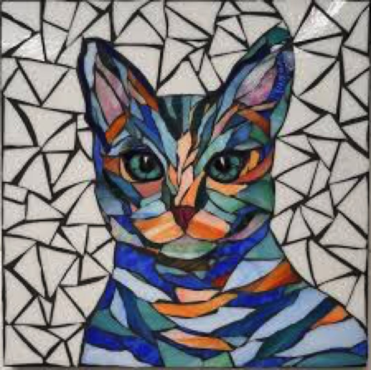 A gorgeous contemporary Mosaic design of a cat by Lucy Designs