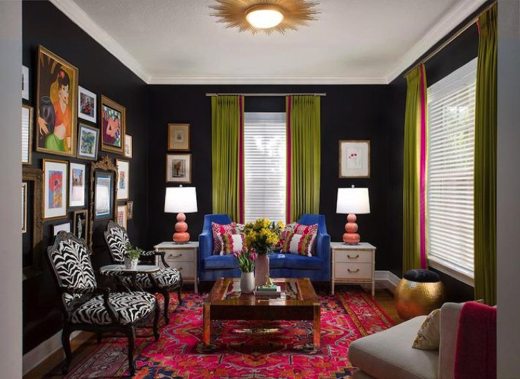 Colorful eclectic home interior living room that is designed by Lisa Gilmore
