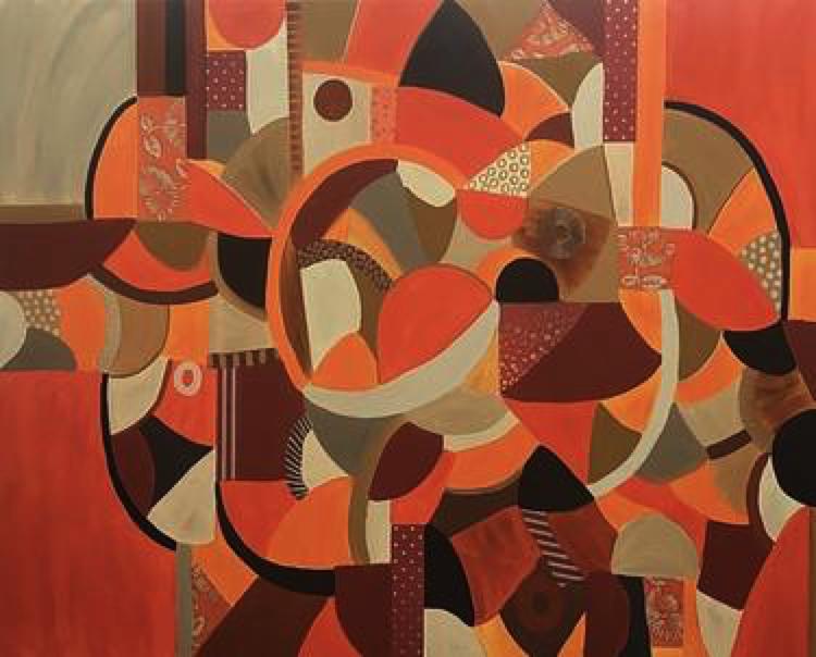 "Stunning mosaic painting - ""Autumn Mosaic"" by Rashna Hackett,"