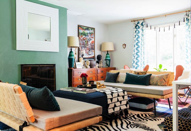 The mixture of a variety of texture in an eclectic living room designed by Diane Rath
