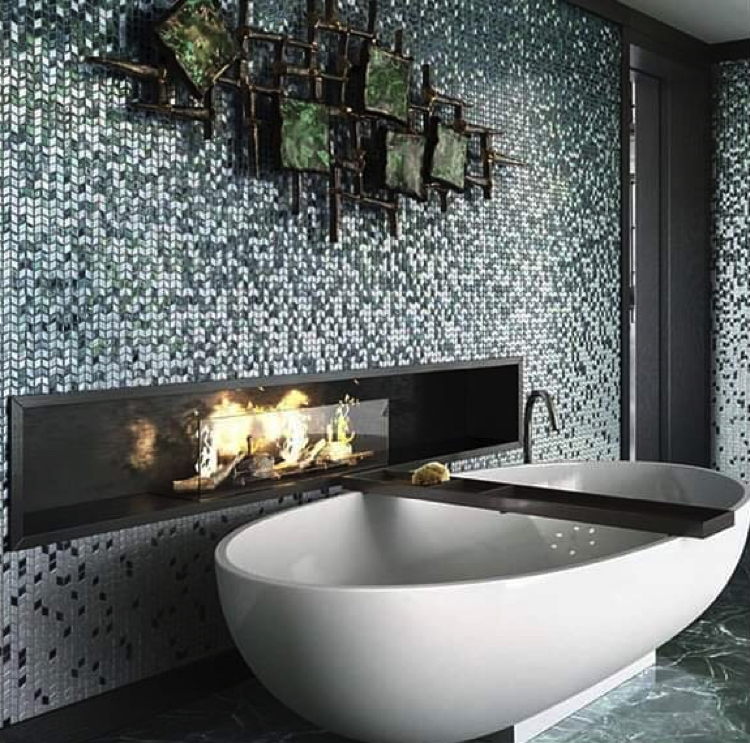Grey bathroom mosaics meets contemporary earthy art vibes