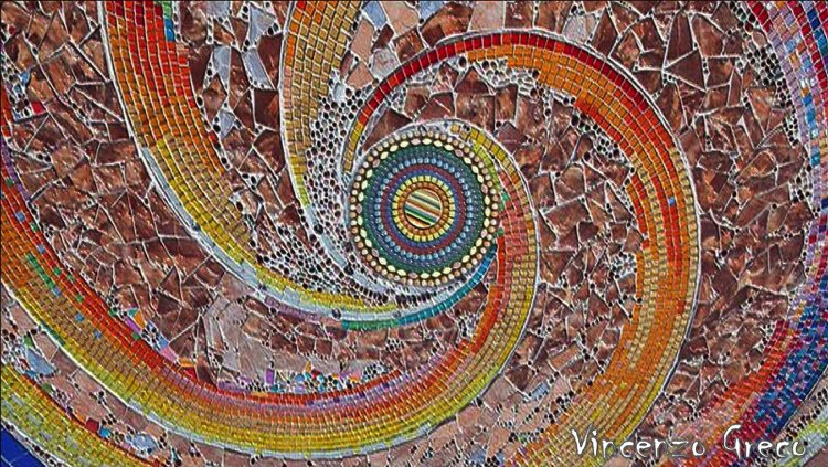 A beautiful spiral contemporary abstract mosaic by Vincenzo Greco