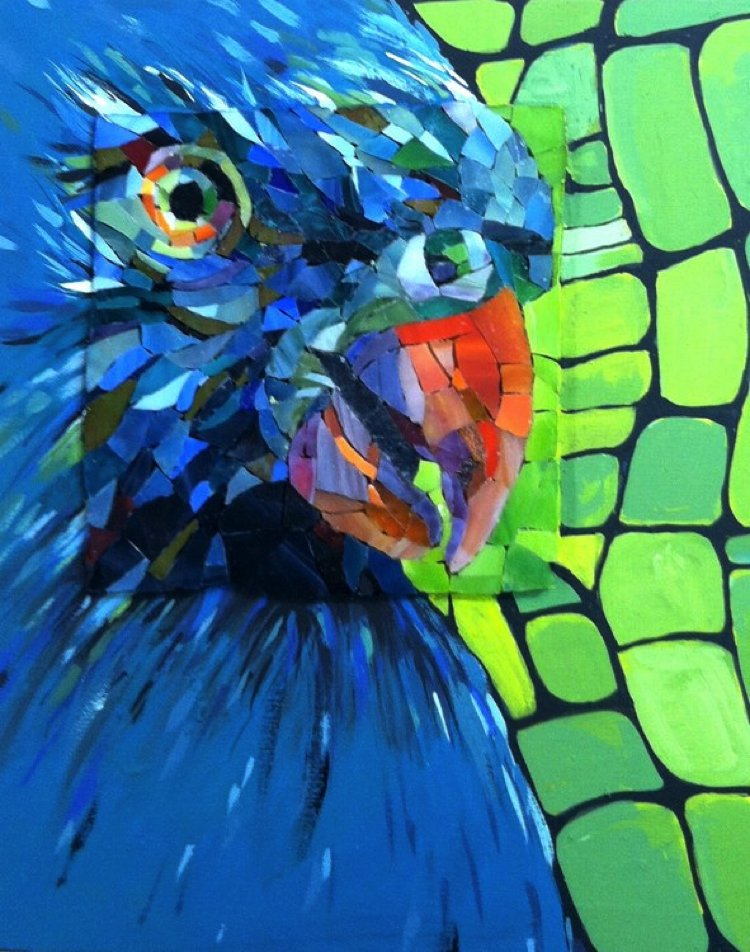 A contemporary mosaic artwork that depicts a parrot.