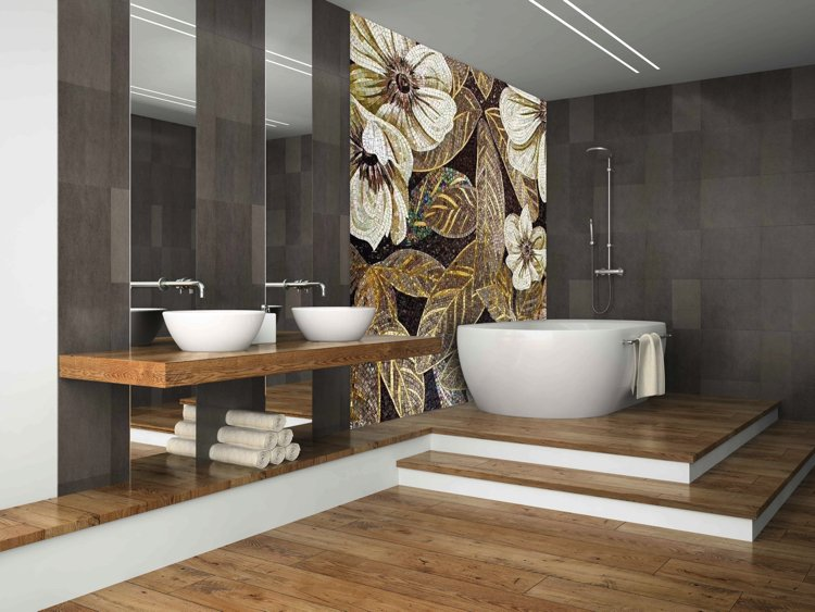 Elegant bathroom mosaics artwork. Floral and Golden handmade mosaic artwork and design