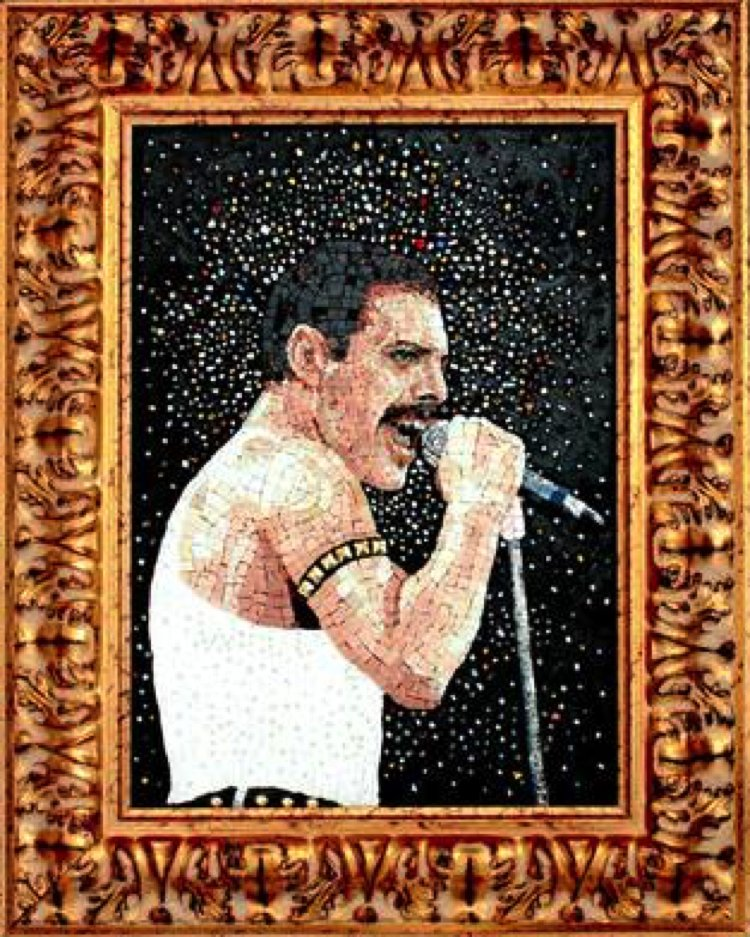 A modern Mosaic portrait of Queen's Freddy Mercury. Mosaic Artwork by  Elena Prosperi