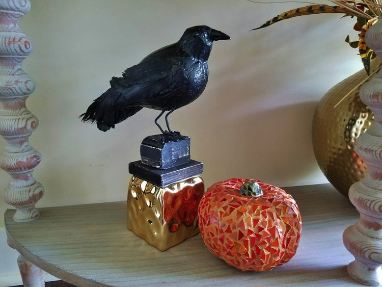 Halloween Mosaic Design of a crow watching over a pumpkin mosaic design