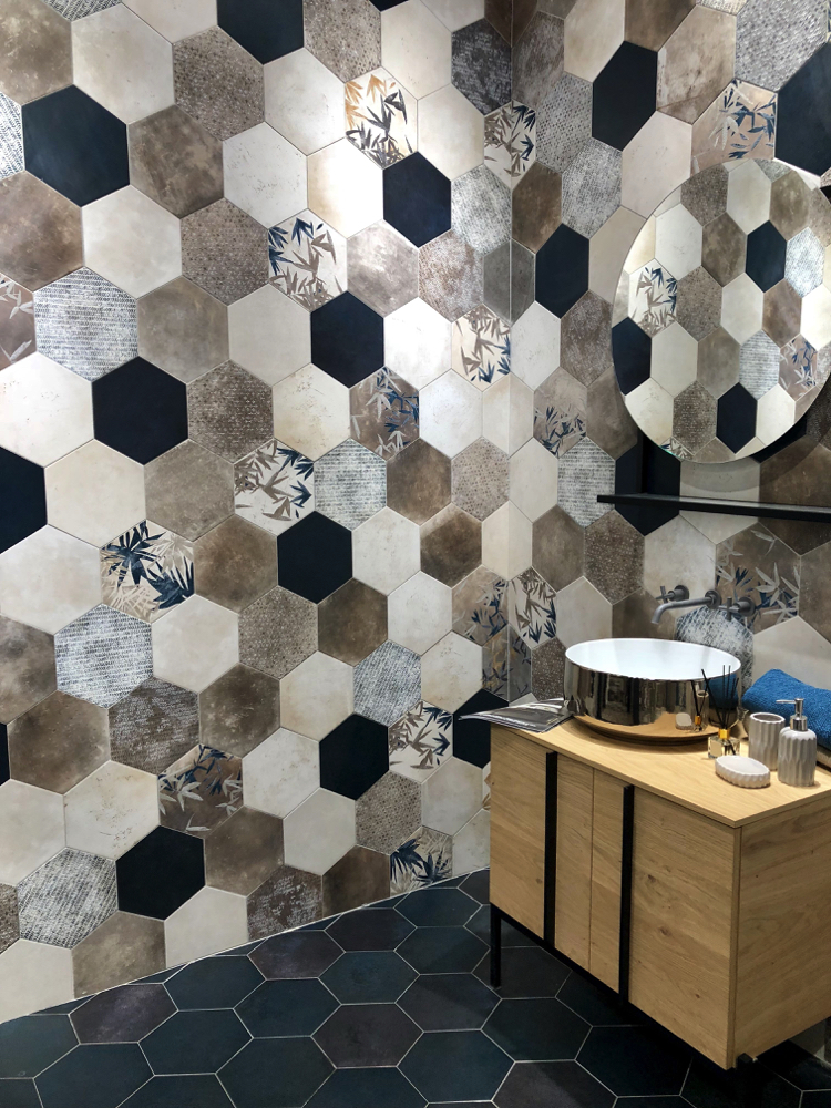 A beautiful and bold mosaic of hexagon tiles.