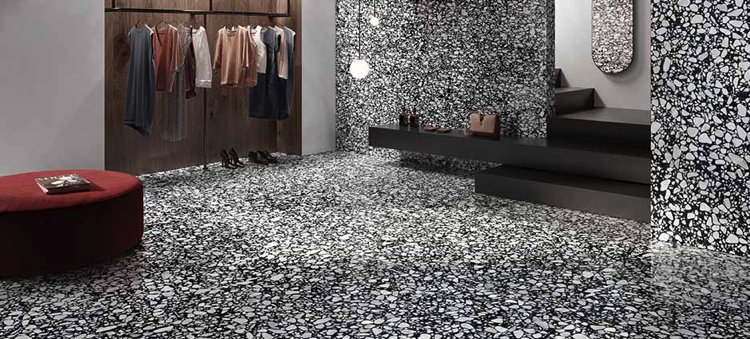 Natural mosaic flooring by Casalgrande Padana.