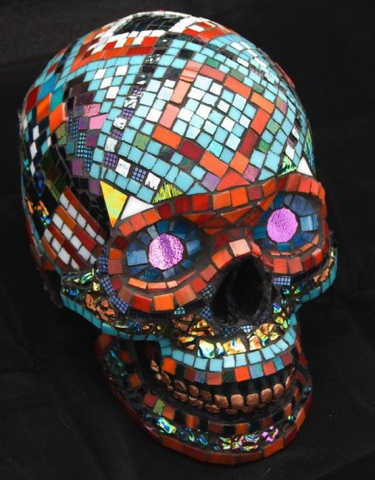 Mosaic design of a skull that would complement your Halloween decor