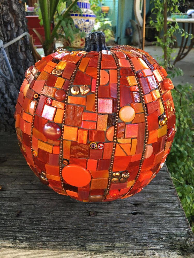 Beautiful mosaic design of a pumpkin