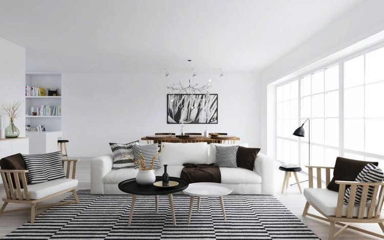 A beautiful interior designed Scandinavian living room with Feng Shui elements
