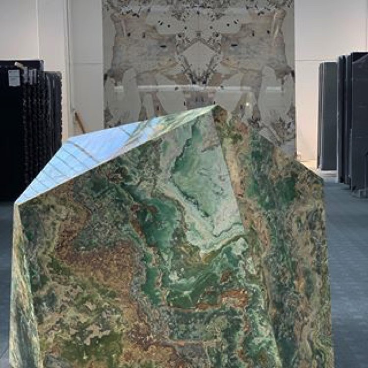 Natural cuts of jade colored stone