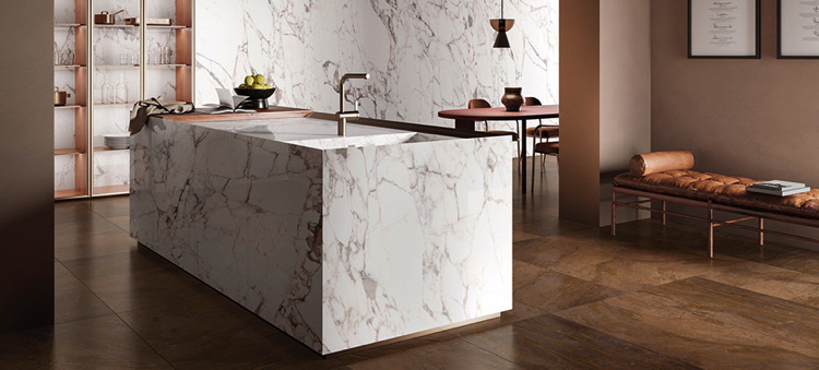 Beautiful Calacatta kitchen marble tiles