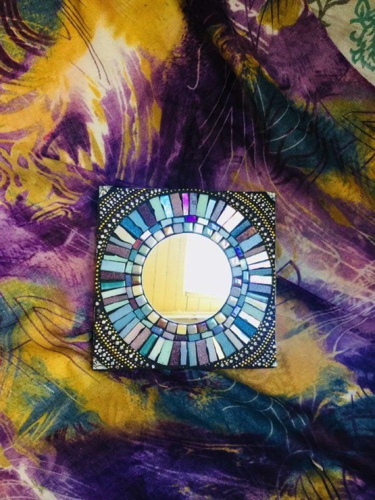 Handmade Mosaic mirror frame make a beautiful home accent.