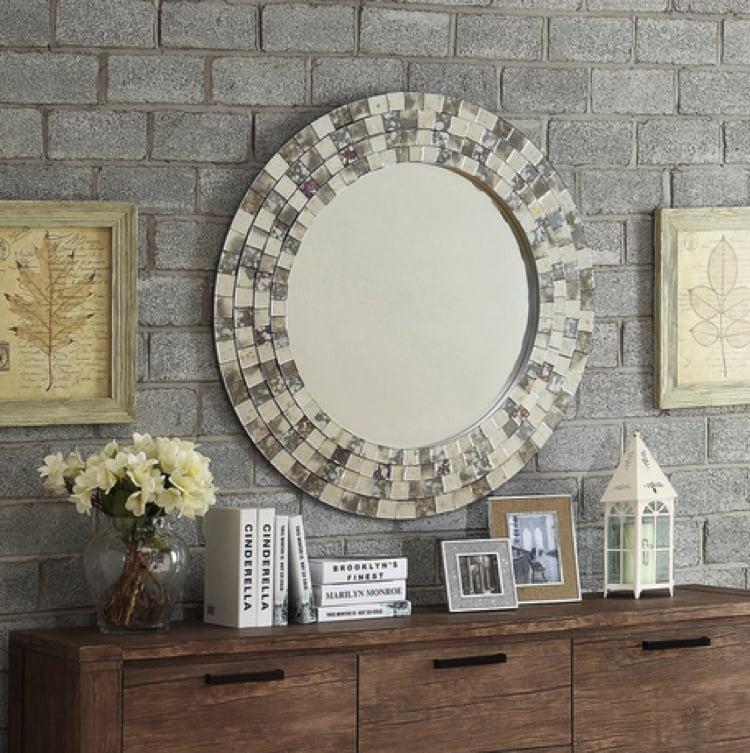 Mosaic mirror frame as a home accent.