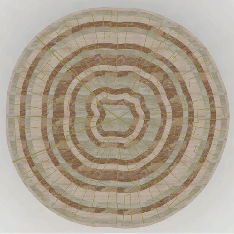 Natural concentric mosaic artwork boasts the timeless classicism of the earthy mosaic.