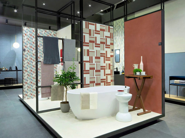 A bathroom space that includes the eco ambiance of plants whilst boasting a groovy mosaic wall art design.