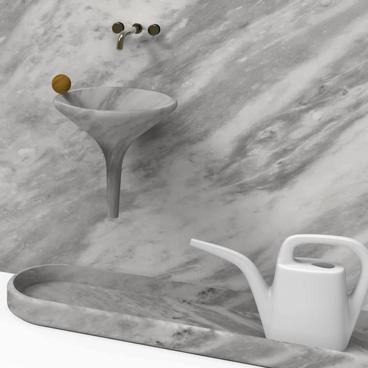Marble basin and watering made of natural marble material.