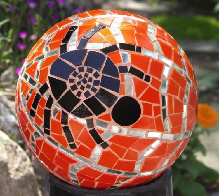 Bowling ball turned to a scary Halloween Mosaic design