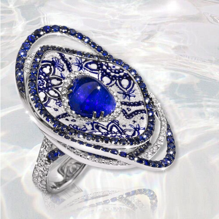 Elegant statement ring made of sapphire gemstone Designed by Sicis.