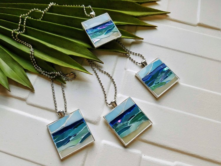 Ocean inspired micro mosaic jewelry by Lucy Designs Art.