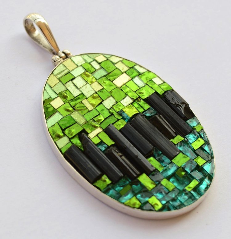 Fresh lime greens and punchy turquoises Contemporary mosaic design.