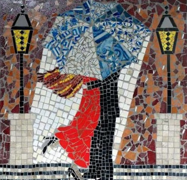 A contemporary mosaic artwork made of antique tiles, glass, slate, and stone by Eileen McDonough