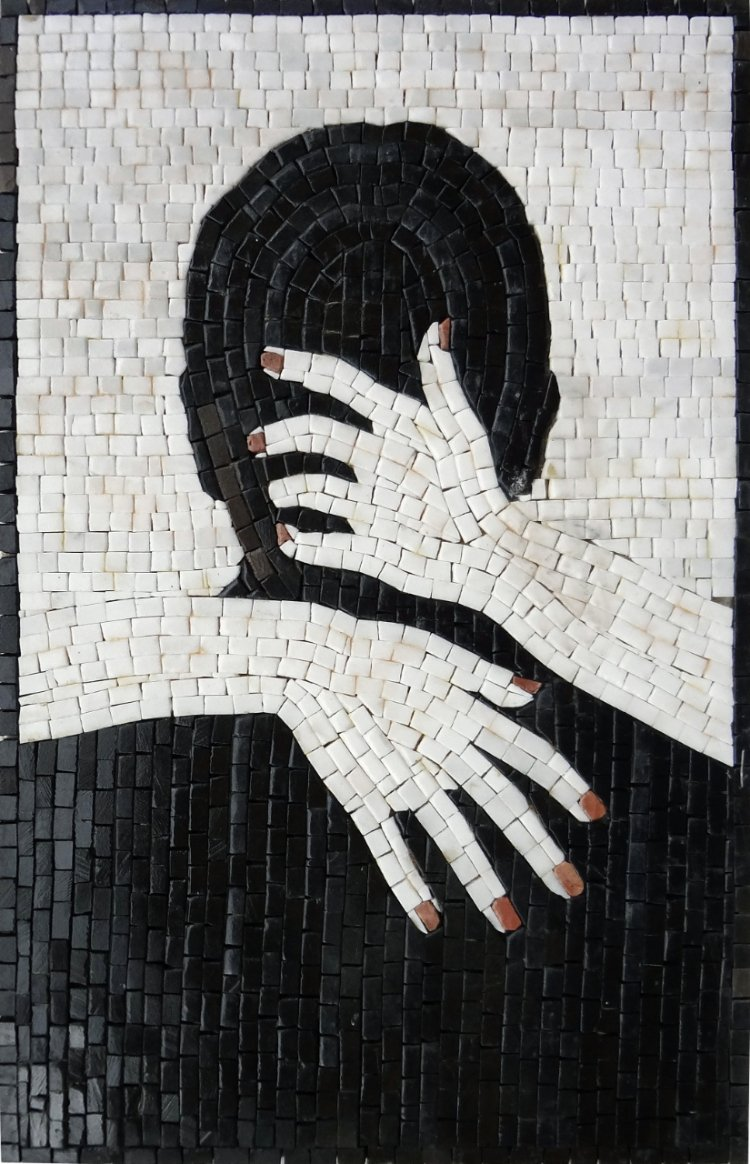 Spice up a boudoir with this gorgeously minimal two-tone mosaic. Contemporary Mosaic Artwork — Copyright © Mosaics Lab