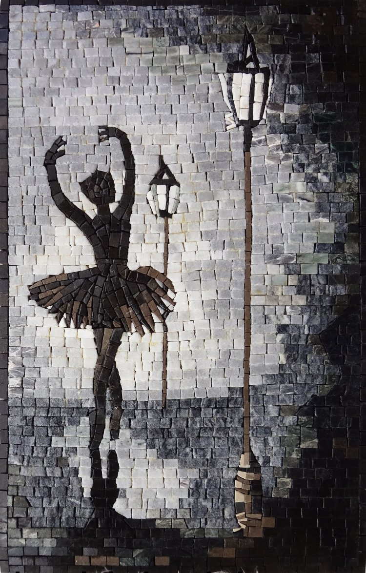 Mosaic Design of a ballet dancer by Mosaics lab