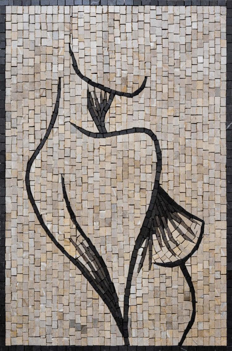 A minimalist mosaic artwork of a woman figure by mosaics lab