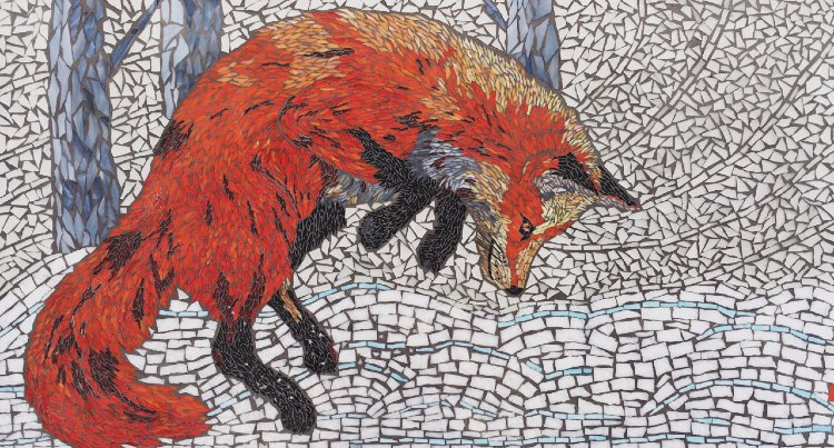 Gorgeously lively pouncing fox Contemporary Mosaic Design — Copyright © Pamela Mauseth
