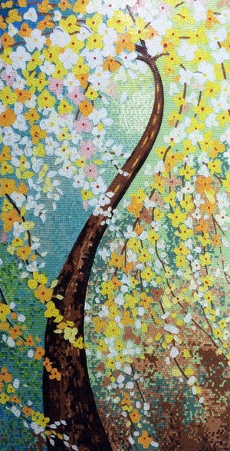 A custom mosaic designs of a flowery tree by mosaics lab