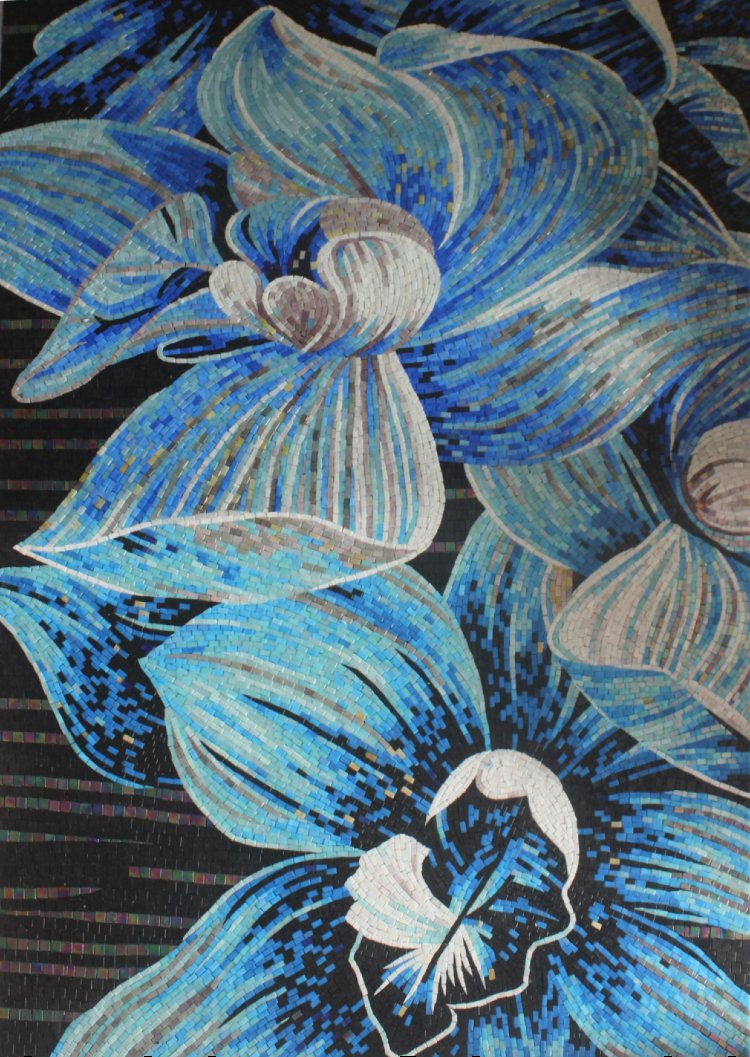 A gorgeous handmade mosaic art of blue flowers by mosaics lab