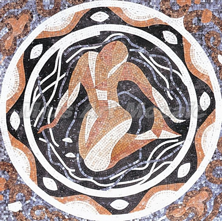 marble mosaic of a mermaid Custom Mosaic Artwork — Copyright © Mosaics Lab
