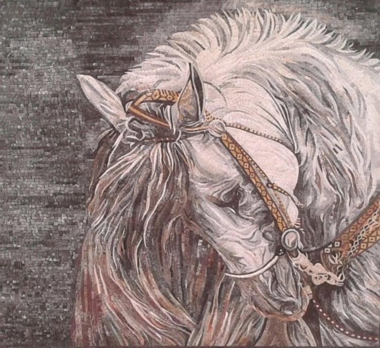 A stunning custom mosaic artwork of an arabian horse by mosaics lab