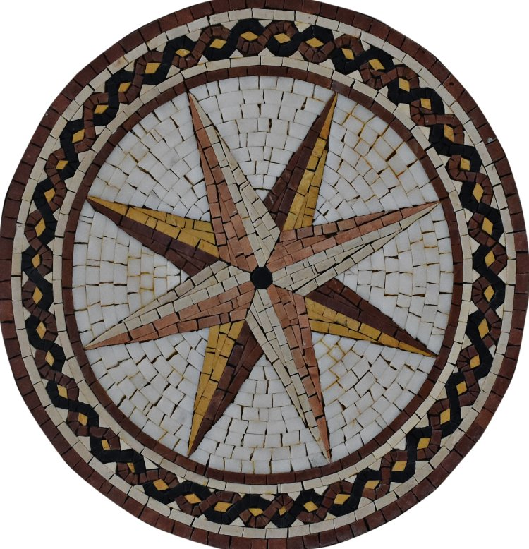 A beautiful handmade mosaic medallion of a star by mosaics lab