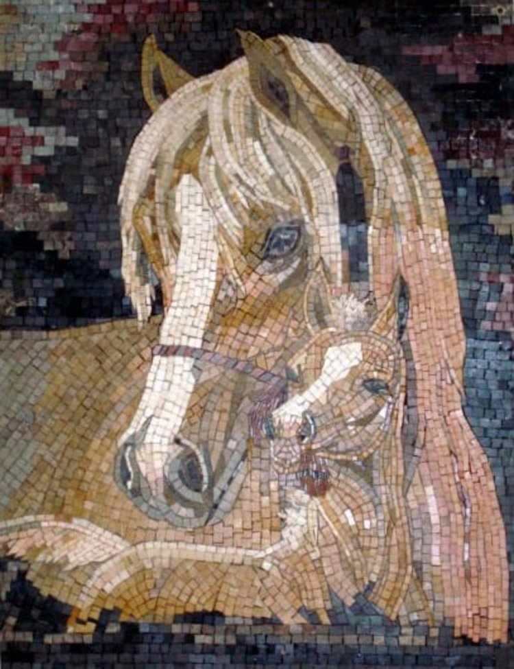 A stunning handmade mosaic art of two horses by mosaics lab