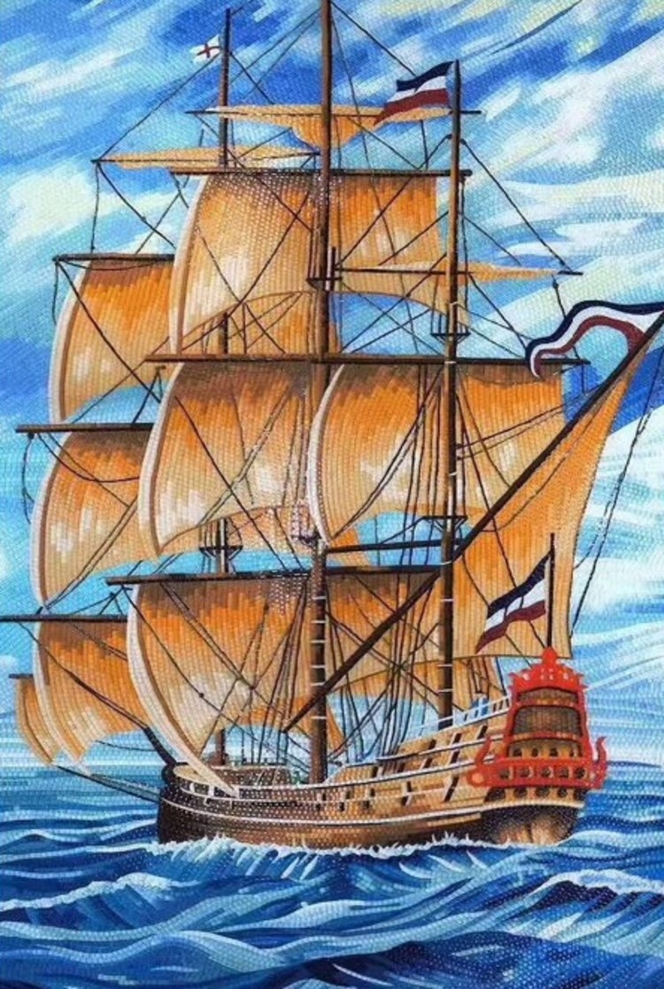 An amazing handmade mosaic design of a sail ship by mosaics lab