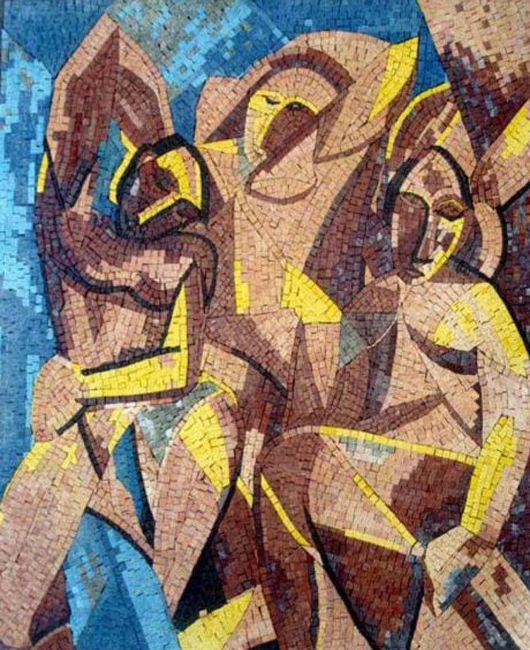 A beautiful mosaic reproduction of picasso's three women masterpiece by mosaics lab
