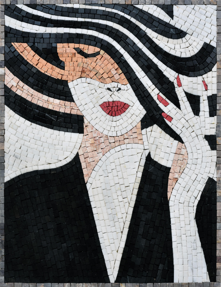 A beautiful modern mosaics artworks of a woman by mosaics lab