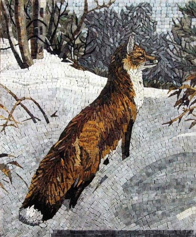 A beautiful mosaics art of a fox by mosaics lab