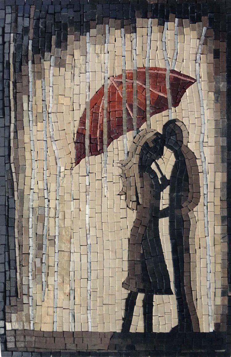 A gorgeous mosaic artwork of a couple kissing under the rain by Mosaics Lab