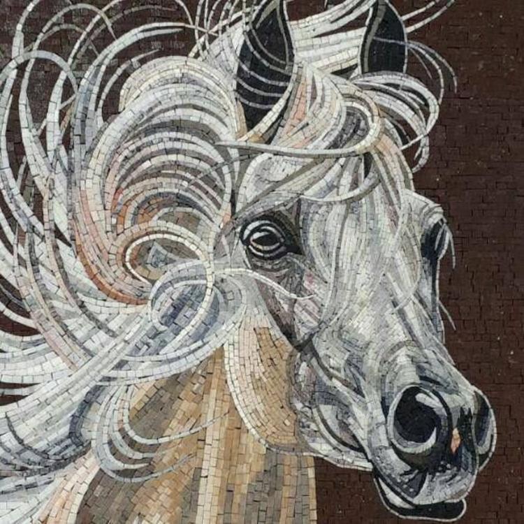 A gorgeous custom mosaic artwork of a horse by mosaics lab