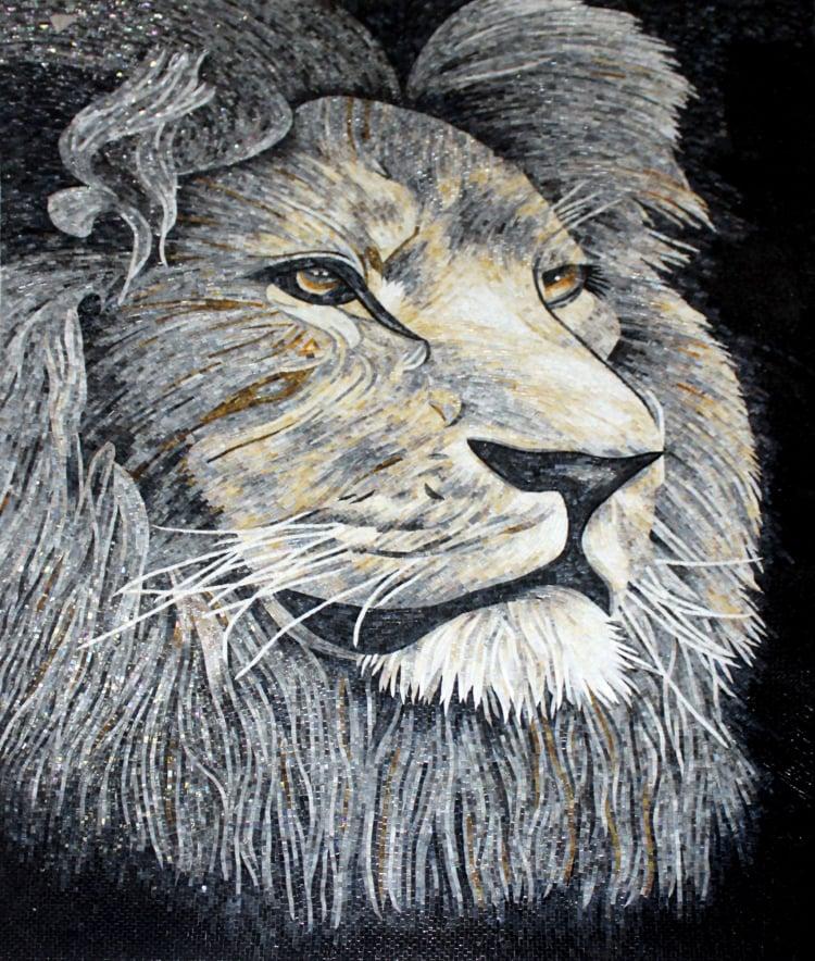 A stunning handmade mosaic art of a lion by mosaics lab