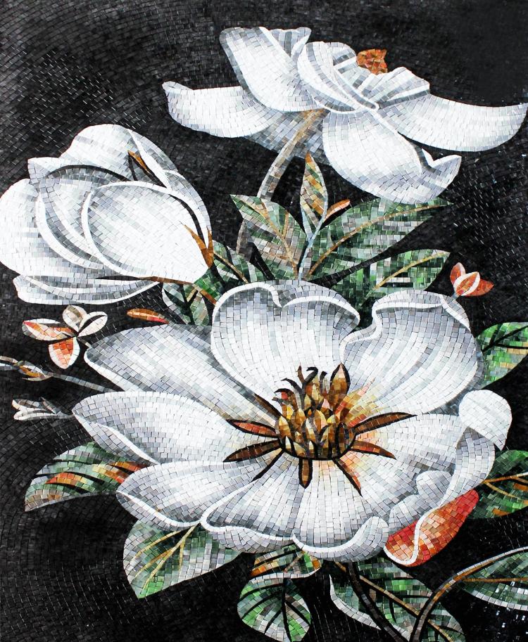 A beautiful mosaics art of a white flower by mosaics lab