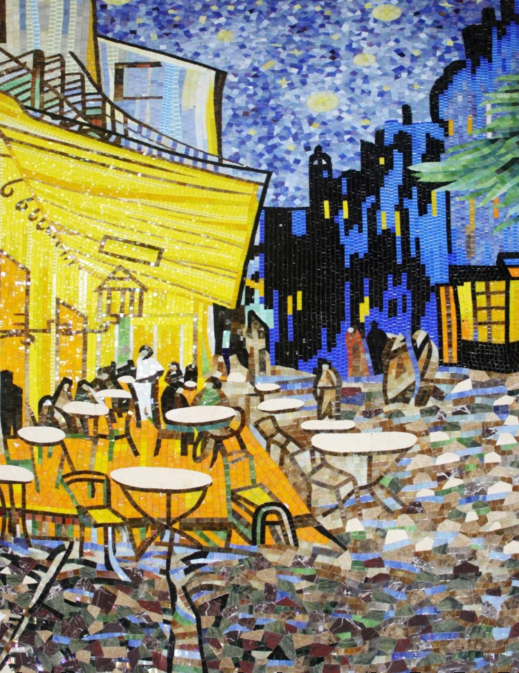 An amazing handmade mosaic reproduction of Van Gogh's outdoor cafe masterpiece by mosaics lab