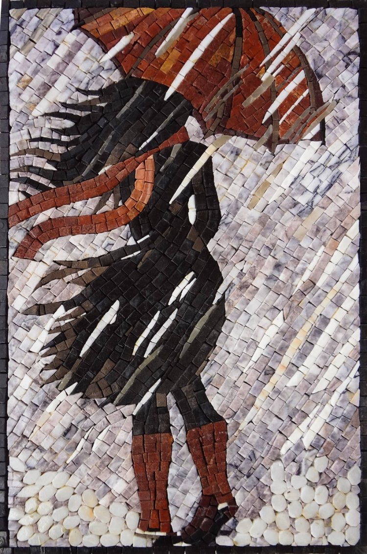 A beautiful handmade mosaics designs of a girl standing in the wind by mosaics lab