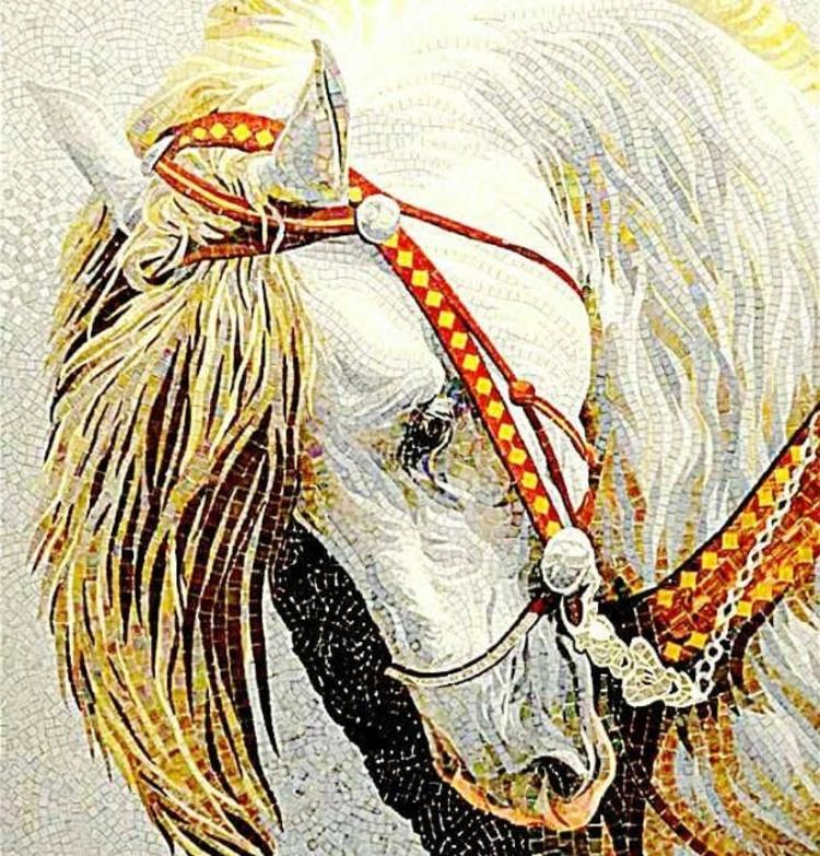 Gorgeously styled horse portrait mosaic. Mosaic Artworks—Copyright © Mosaics Lab