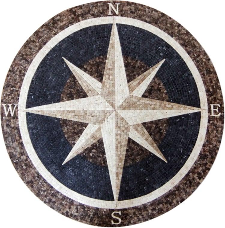 A handmade mosaic medallion of a star by mosaics lab