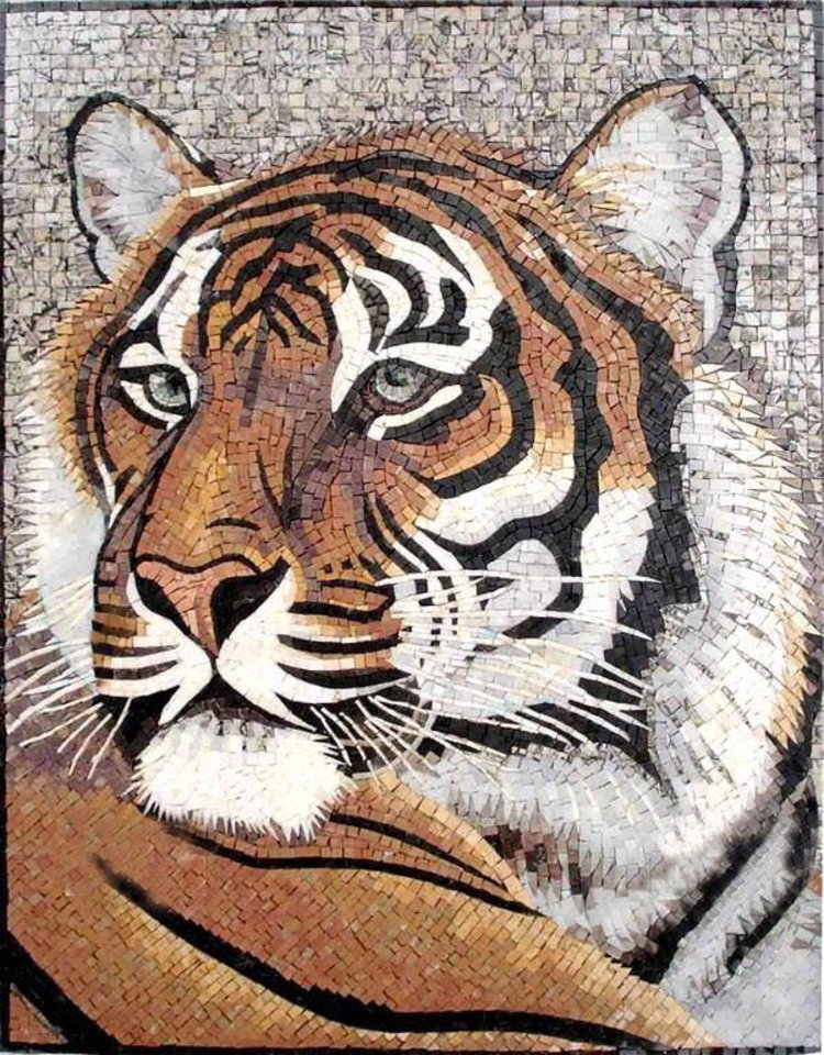 Enchanting gorgeous tiger portrait  Mosaics Artwork — Copyright © Mosaics Lab